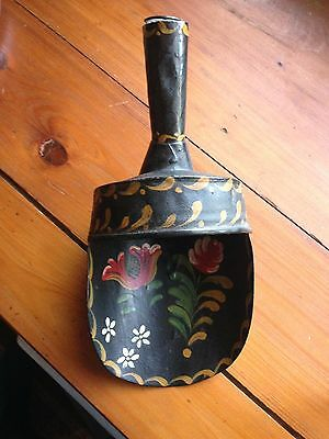 Vintage Handpainted Folk Art Heavy Tin Toleware Scoop-Excellent Condition
