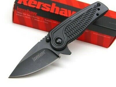 KERSHAW Tactical Black SPOKE Assisted Straight Folding POCKET Knife! 1313BLK