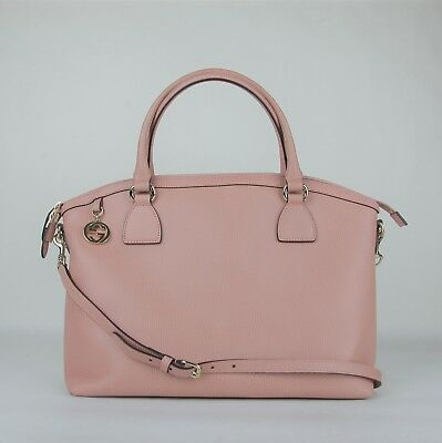 8981543dff6f Gucci Soft Pink Leather Medium GG Charm Convertible Dome Bag 449651 5806