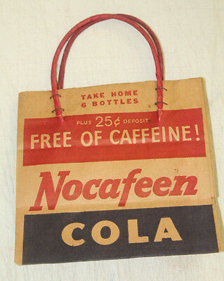 Vintage Nocafeen Cola Advertising Bag For 6 Soda Bottles Carrier Caddie  Sign