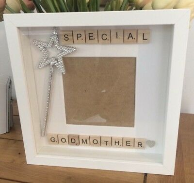 GODPARENT SCRABBLE FRAME Gift Christening Godmother Godfather ...