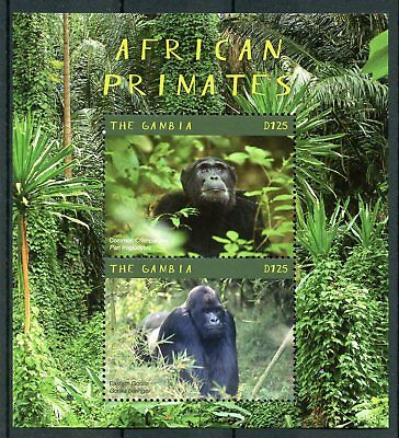 Gambia 2018 MNH African Primates Gorillas 2v S/S Monkeys Wild Animals Stamps