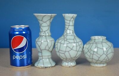 Fine Lot Of Antique Chinese Crackle Porcelain Vases Rare G9671
