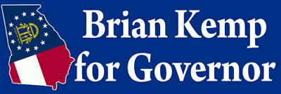 3x9 inch BRIAN KEMP For Governor Bumper Sticker -georgia ga atlanta conservative