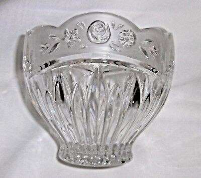 Oneida Votive Candle Holder Crystal & Frosted Glass Southern Garden Floral Rose