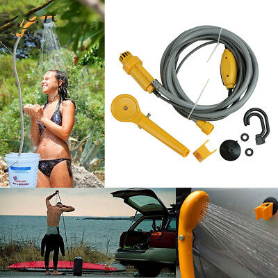 Portable 12V Car Powered Shower Outdoor Kid Pet Camping Wash Equipment Head Tool