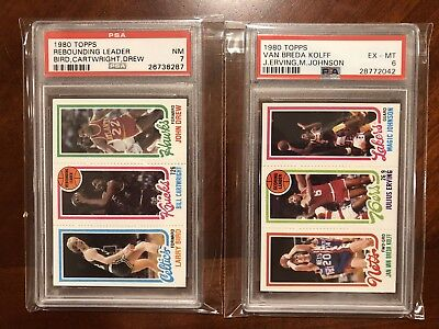 1980 Topps Basketball Magic Johnson Larry Bird Rookie Card Lot Psa 6 7