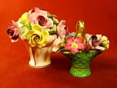"""Gorgeous! Lot Of 2 Staffordshire England Floral Bone China Flower Bouquets 5"""""""