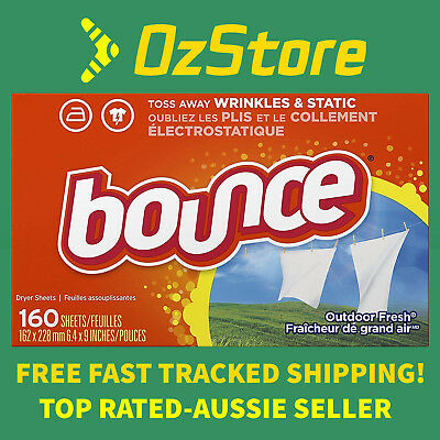 New Bounce Fabric Softener Dryer Sheets Outdoor Fresh -160 320 480 Packs