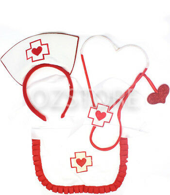 Sexy Nurse Fancy Dress Up Costume Party Cosplay Halloween Outfit - 3 Piece Set