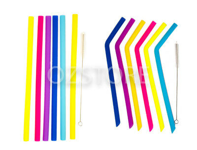 6 Reusable Silicone Straws Eco-Friendly Smoothie Drink Shakes Straw+ Cleaner