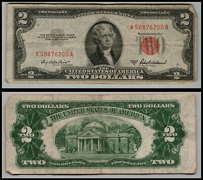 (1)-1953A  United States Note Red Seal $2 Two Dollar Bill  LOT =0176
