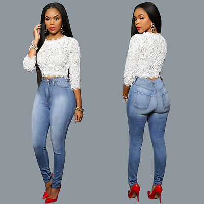 USA Women Pencil Stretch Casual Denim Skinny Jeans Pants High Waist Trousers