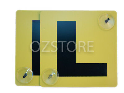 2 Pack Learners L Plates Pair Plastic Stay Put Suction Cups Disks Yellow