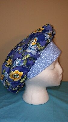 Yellow and Blue Flowers Bouffant Women's Surgical Scrub Hat/Cap Handmade