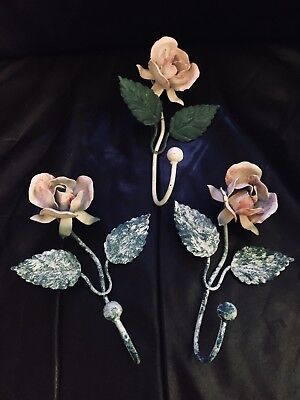 Vintage Italian Tole Floral Rose Hooks Shabby Cottage Set Of 3
