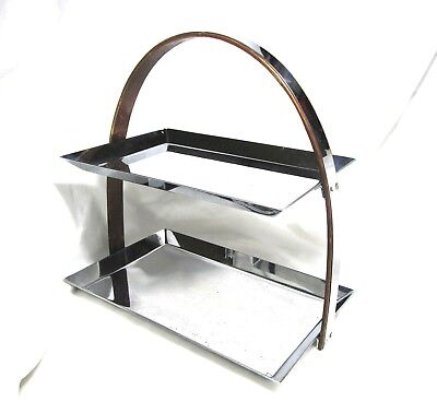 Superb Art Deco Manning Bowman Chromed Steel & Wood Arched Double Tier Server