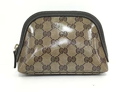 GUCCI Cosmetic pouch 272366 Vinyl chloride coating Brown