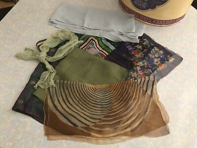 Genuine Antique Old Womans Silk Scarves Scarfe Scarf Floral Geometric LOT