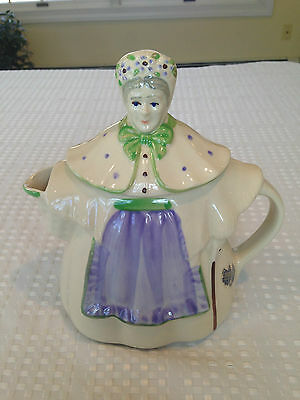 RARE Vintage SHAWNEE POTTERY GRANNY ANN Essex China Teapot Purple & Green