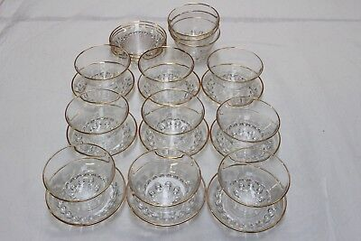 Vintage: Glass Dessert set of 12 small bowls and saucers