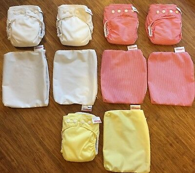 Bambooty MCN Modern Cloth Nappies Size M x 5 with free wet bags (Preloved)
