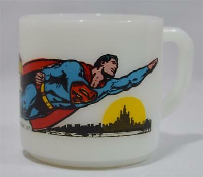 Vintage 1971 Dc Comics Superman Coffee Mug Cup Federal Milk Glass