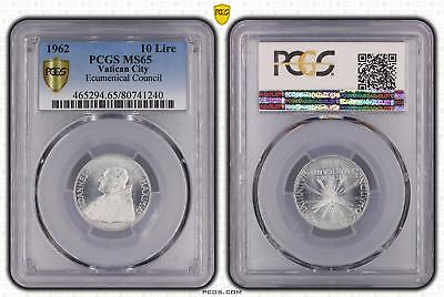 1962 MS65 Vatican City 10 Lire Ecumenical Council PCGS GRADED Gem UNC