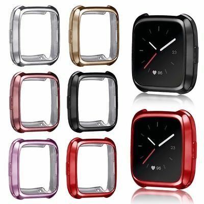 Protective TPU Silicone Shell Case Frame Cover Screen Protector For Fitbit Versa