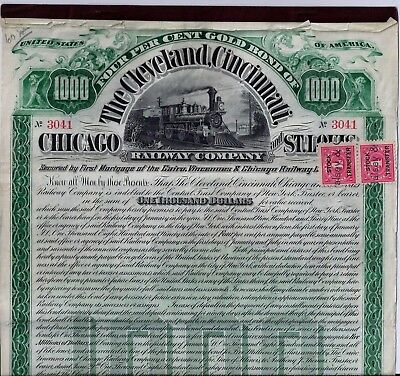 The Cleveland Cincinnati,Chicago, St.Louis Railway Company, 4% Gold Bond, 1890