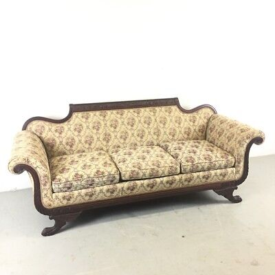 Vintage Duncan Phyfe Sofa Edwardian Style w/ Carved Accents & Claw Feet