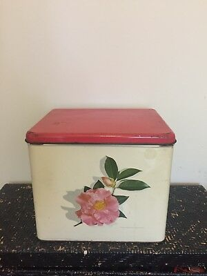 Pink vintage retro flower bread tin