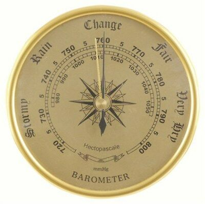 """Brass Type"" Circular Barometer - No Battery Required"