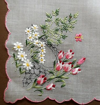 Immaculate Vintage 1950s Hand Embroidered White Cotton Women's Handkerchief