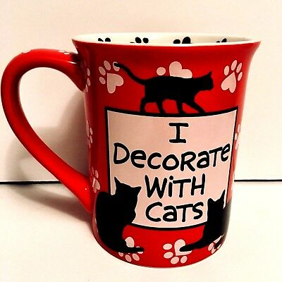 Crazy Cat Lady Lorrie Veasey Red Coffee Cup Mug Mud Purfect Gift