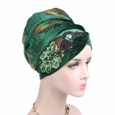 Sequins Peacock Embroidery Extra Long Velvet Turban Africa Women Head Wrap Scarf