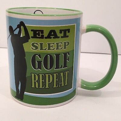 Chat OGANZ Cup Mug Eat Sleep Golf Repeat Coffee Tea Cup Fathers Day Golfer