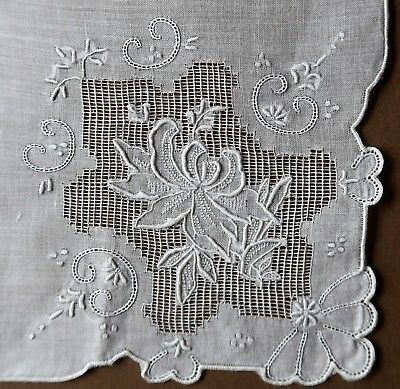 Vintage 1950s Fine Hand Embroidered White 29.5cm Women's Handkerchief