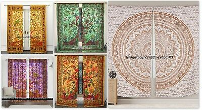 Indian Mandala Hippie Window Treatment Curtains Cotton Drape Balcony Room Decor