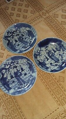3 19th century chinese,pottery,porcelain blue & white plates,dishes