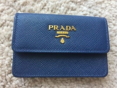 New Authentic Prada Leather Logo Credit / Business Card Holder Wallet