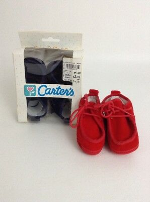 Vintage 80's Carter Crib Shoes LOT Red & Blue Wallaby Shoe Size 0 New Old Stock