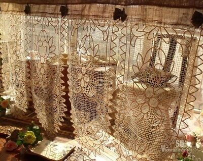"""Vintage Lace Valance BURLAP rustic Curtain SHABBY French Chic Cream FLOWERS 62"""""""