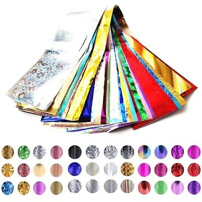 50 x Nail Foils - Mixed Nail Art Transfer Foil Wraps Decal Glitter Stickers