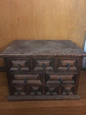 """Vintage Old Wood 19"""" X 14"""" X 13"""" Box With 9 Drawers So Fun Great Piece Very Old"""