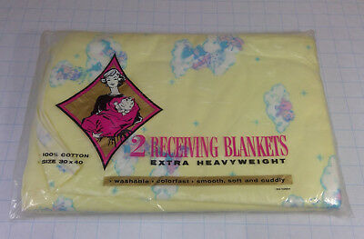 NEW Set of 2 VINTAGE Infant Receiving Baby Blankets - 100% Cotton - 30 x 40""