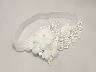 Baby Girl Off White Christening Headband Baptism Wedding Flower Pearl Hairband