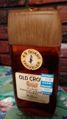 Vintage Old Crow bought in WW2 in Guam. Traveler bottle unopened with Guam label