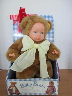 "BABY BEARS by ANNE GEDDES~15"" Plush Doll in Teddy Bear Costume~New In Box"