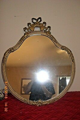 antique Victorian Style Mirror, Floral Design, Golden border, Wire Hung